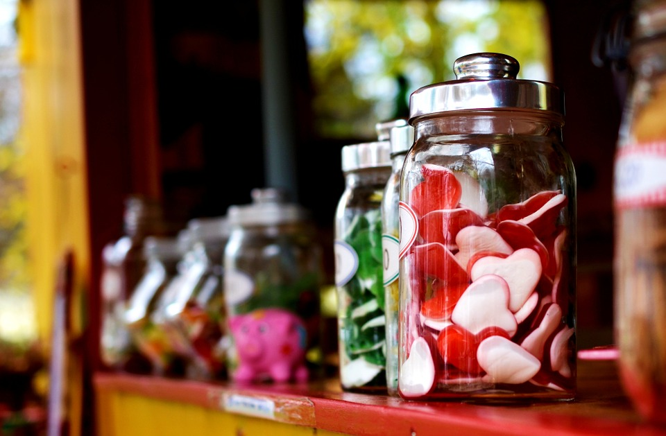 gummy candy displayed in jars