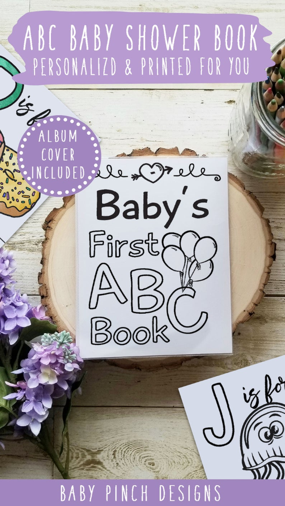 abc baby shower coloring book and guestbook