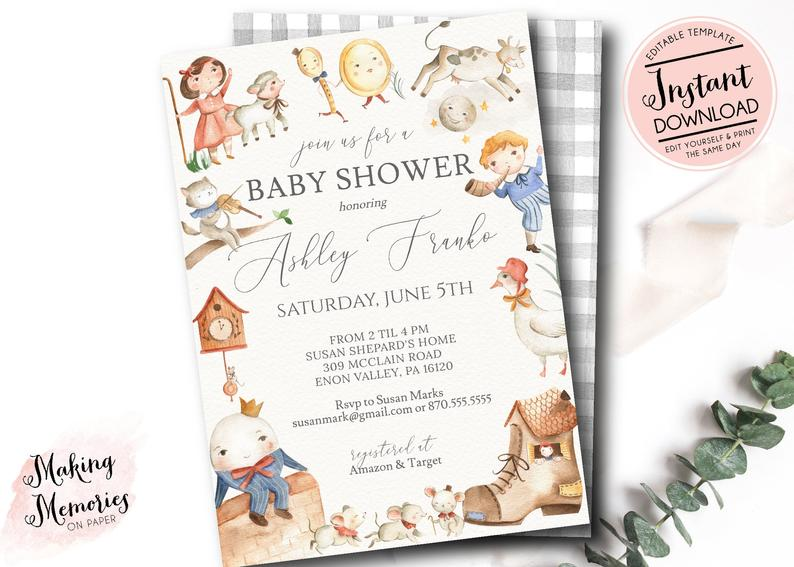 fairy tale baby shower invitation