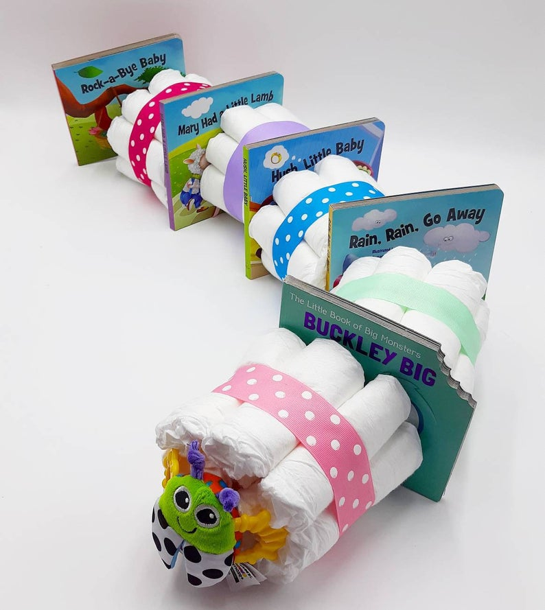 caterpillar diaper cake with books