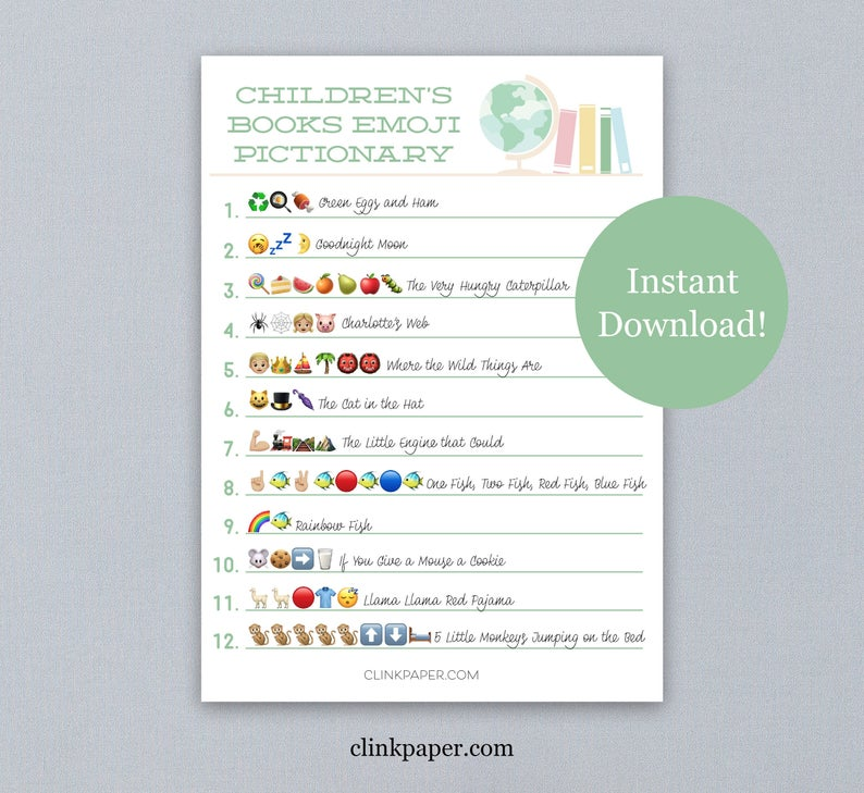 children's books emoji Pictionary game