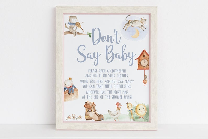 """Don't Say Baby"" printable baby shower game"